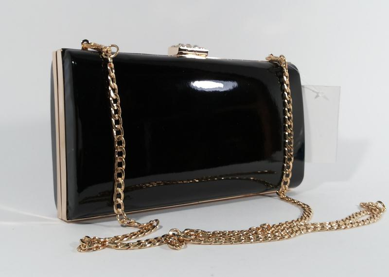 853525f9fe3f Вечерний черный лаковый клатч rose heart 8119, сумочка на цепочке1 фото ...