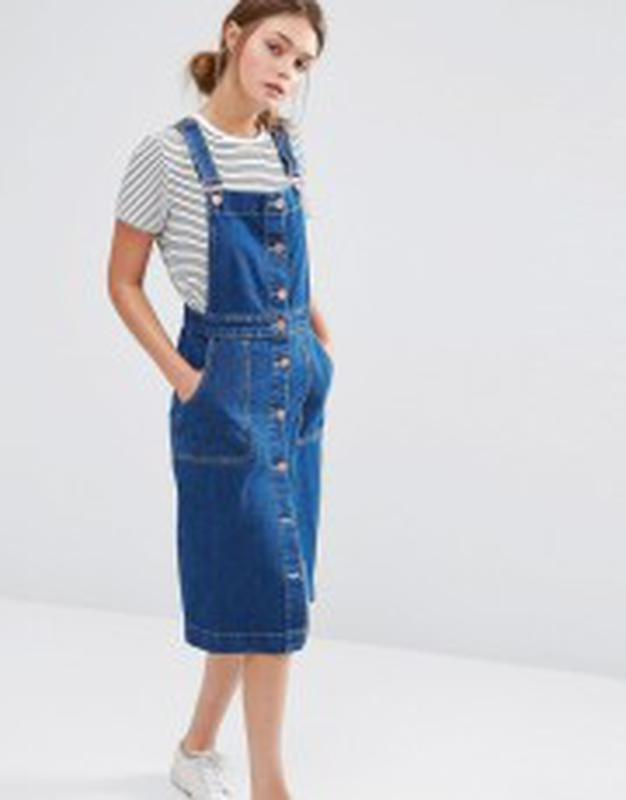 267e6b7f9c0 Синий джинсовый сарафан на пуговицах миди Marks   Spencer