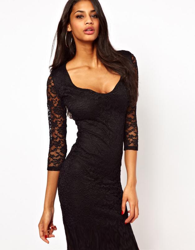 5a4ce8133dbd495 Кружевное черное облегающее платье миди asos с вырезом сердечком1 фото ...