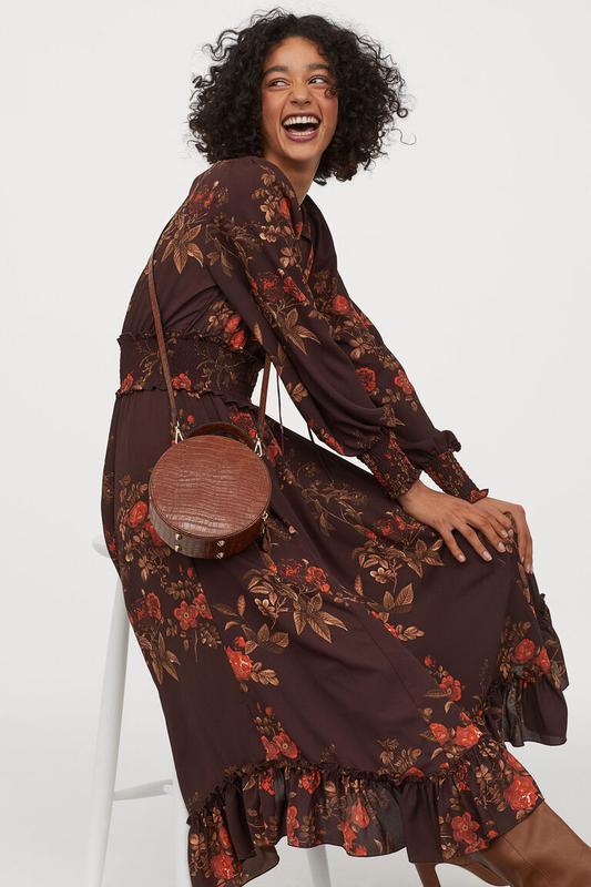 Креп-шифон платье с оборками длинный рукав в цветочный принт текущая коллекция H&M, цена - 565 грн, #41857786, купить по доступной цене | Украина - Шафа
