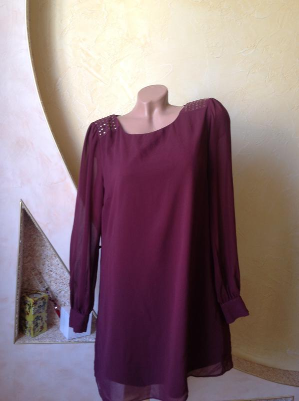 dbc47d84c49 Бордовое шифоновое платье прямого кроя Atmosphere