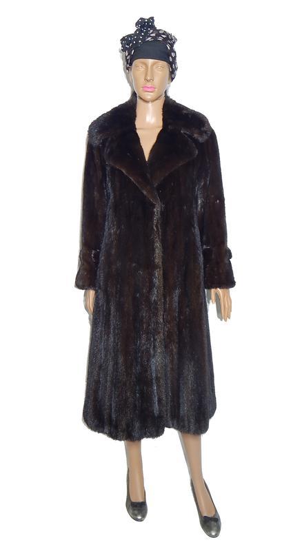 effe87de6db Приталенное меховое пальто из норки р44-46 норковая шуба №041 фото ...