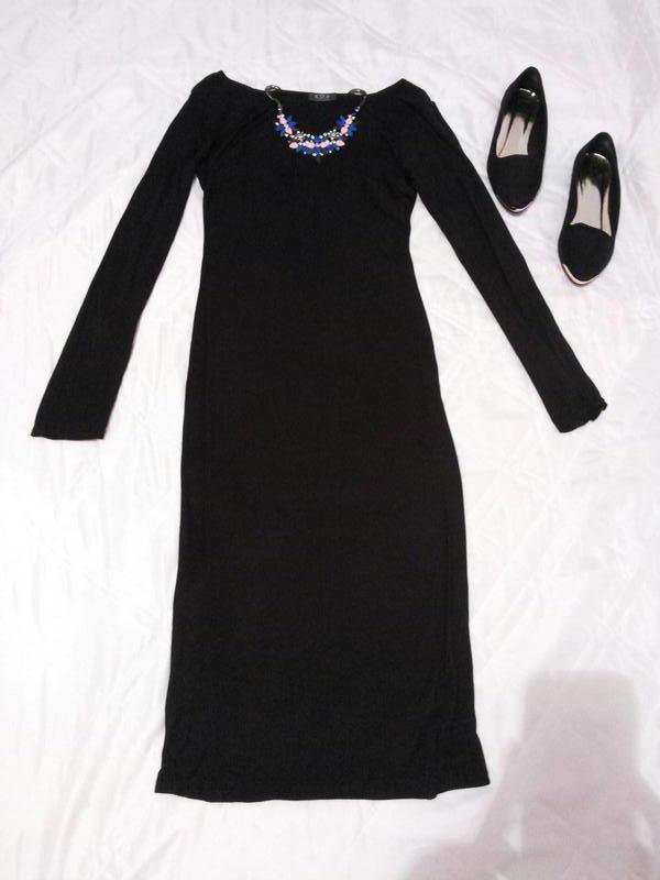 f4793198cf6 ... Черное платье миди платье ниже колен бесплатная доставка укр почтой2  фото ...