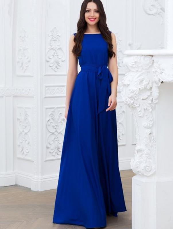 eeae3ee2218 Синее шифоновое вечернее платье в пол