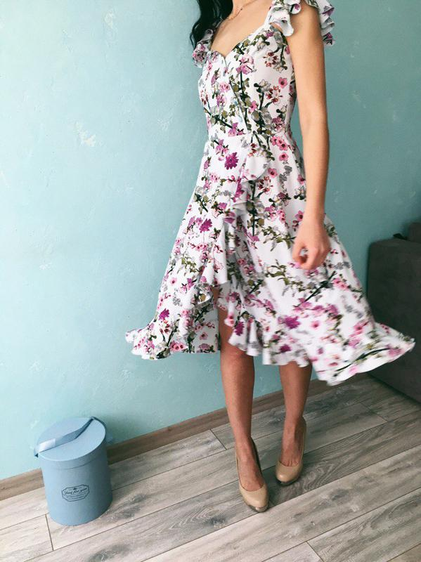 9984aacdcd96945 Очень красивое женское платье на запах с рюшами оборками! новое! цветочный  принт!1 ...