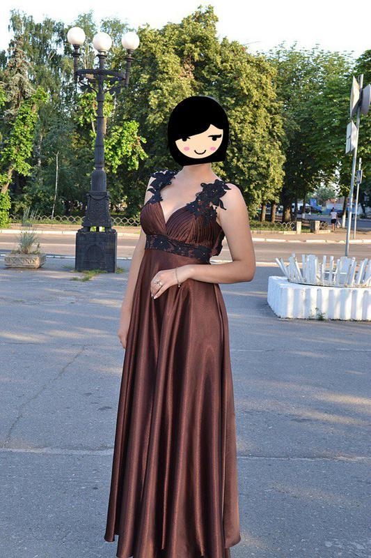 5ada0bae545 Шикарное выпускное вечернее шоколадное коричневое платье в пол1 фото