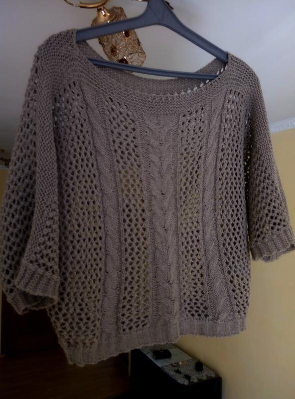 летняя весенняя кофта пончо вязаный свитер топ сеточка в дырочку оверсайз Oversize за