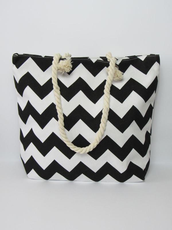 Пляжная сумка зигзаг черно-белая, цена - 280 грн,  5257973, купить ... 926579fff8d