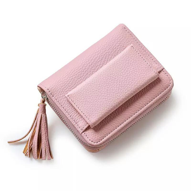 3cf5a735bcde Маленький складной женский кошелек с кисточкой, цвет пудра (розовый)1 фото  ...