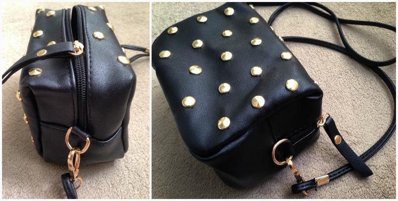 54d000b308d3 ... Черная сумка кроссбоди\ черный клатч через плечо с заклепками (шипами)  на длинном ремешке4 ...
