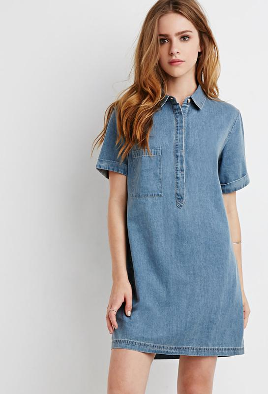 b37167abe53 Джинсовое платье рубашка прямое stradivarius1 фото ...