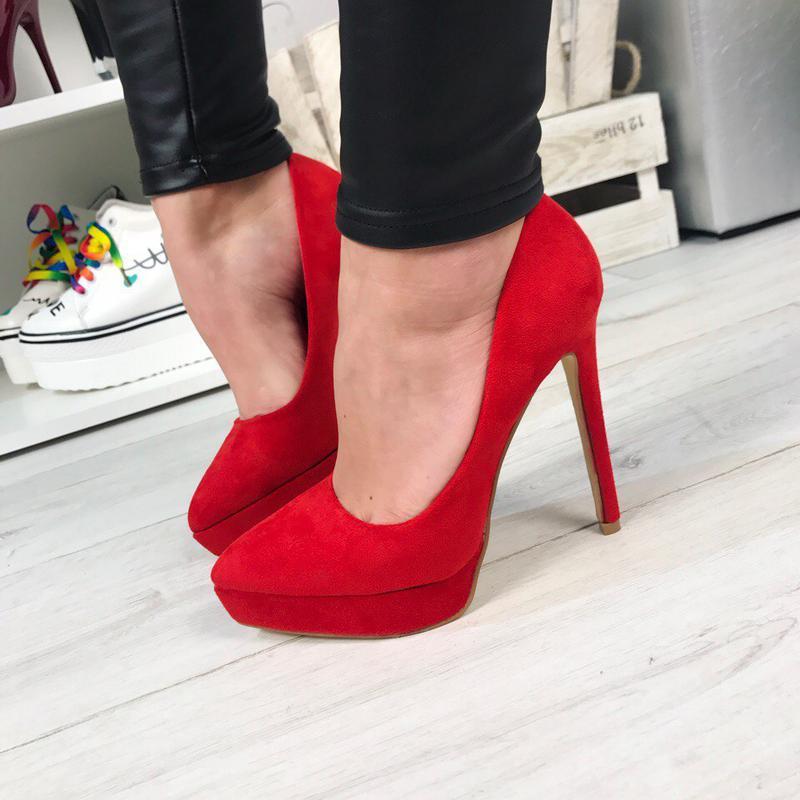 Красные замшевые туфли лодочки на шпильке на платформе рр 36-401 ... fa578d711b45b