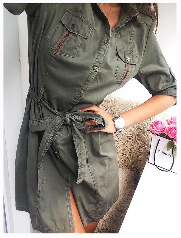 799a89d6097b85e Роскошное хлопковое платье - рубашка - халат цвета хаки с милитари  стилизацией1 фото ...