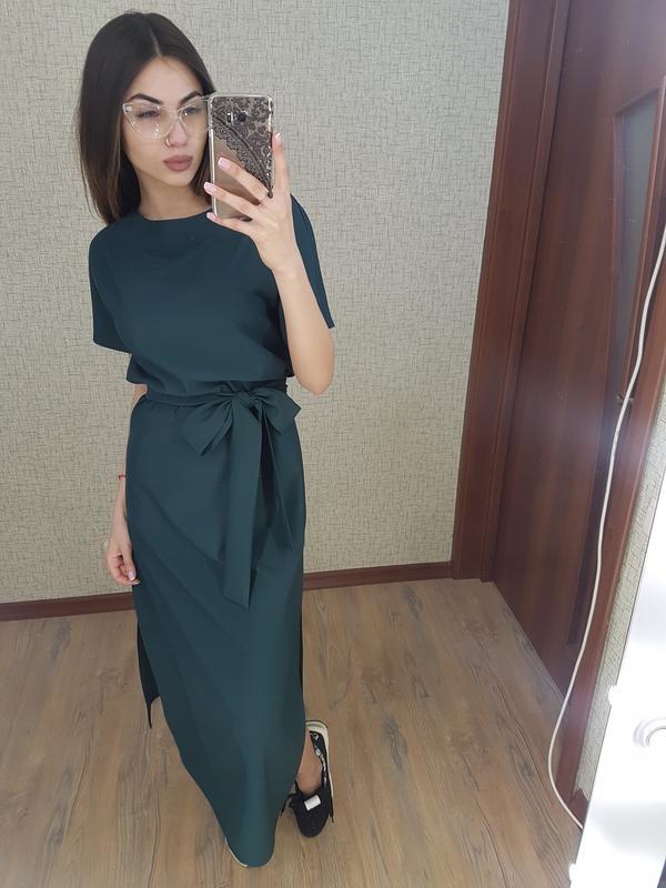 8897246c6b8 Летнее платье в пол зеленого цвета хаки свободного кроя1 фото ...