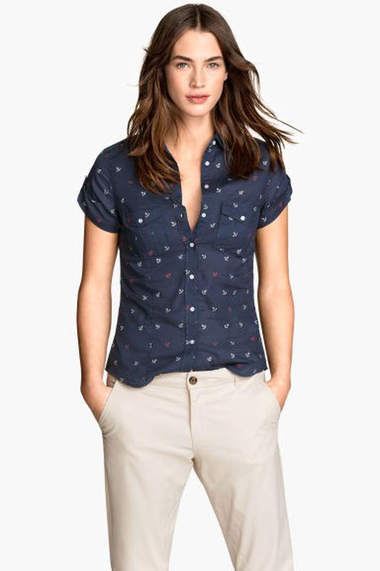 a1d92d458 Рубашка в морском стиле из органического хлопка h&m, якорь принт1 фото ...
