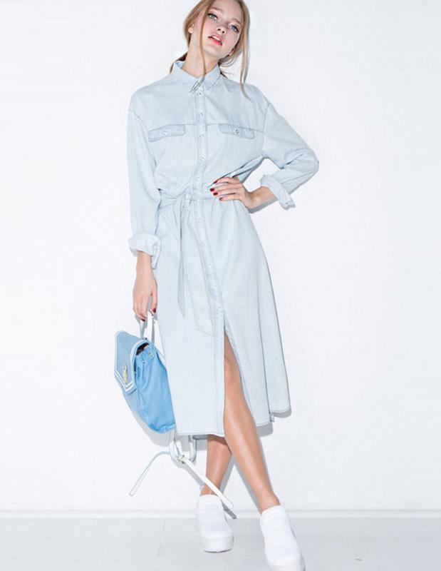 ac7f68ece30 Свободное хлопковое длинное джинсовое платье на запах голубое лёгкое  платье1 ...