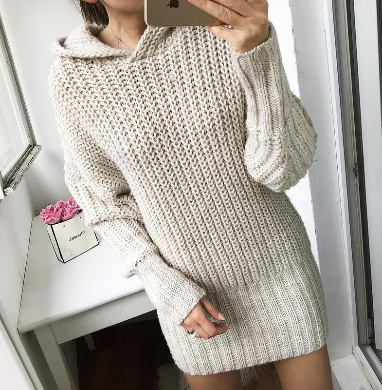 Платье кофта туника вязанная тёплая с капюшоном худи h&m оверсайз H&M, цена - 420 грн, #48645572, купить по доступной цене | Украина - Шафа