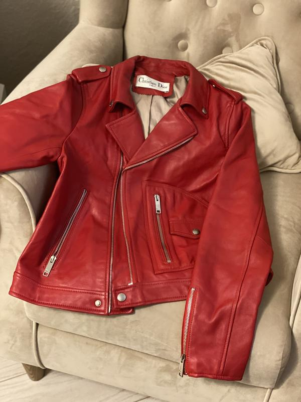 Кожаная куртка косуха красная dior Christian Dior, цена - 4250 грн, #48661143, купить по доступной цене | Украина - Шафа