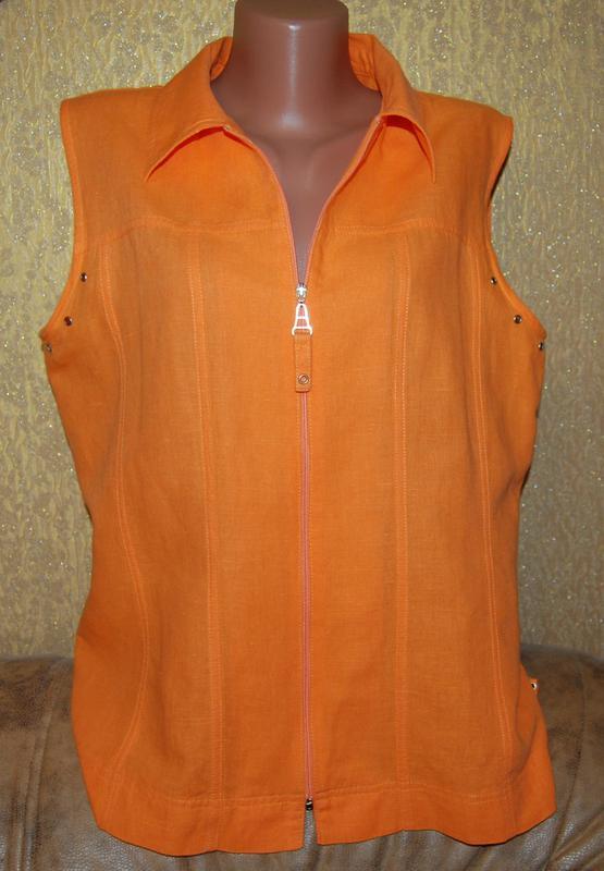 7288e9008e9 Стильная яркая льняная рубашка пиджак на молнии без рукавов пог 54 см  лен+котон1 ...