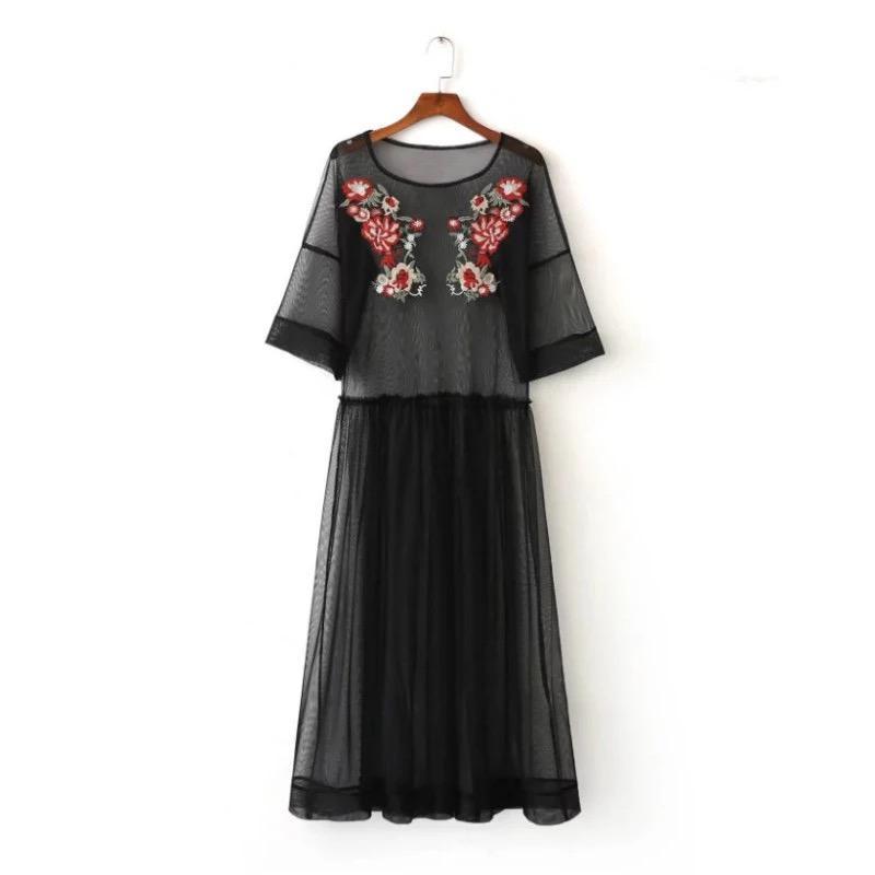 Платье сетка прозрачная туника футболка с вышивкой цветов, цена ... f9e64d41b3b