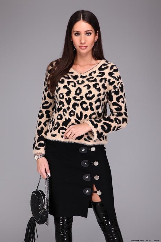 Шерстяной свитер с леопардовым принтом ? Франция, цена - 100 грн, #48829241, купить по доступной цене | Украина - Шафа