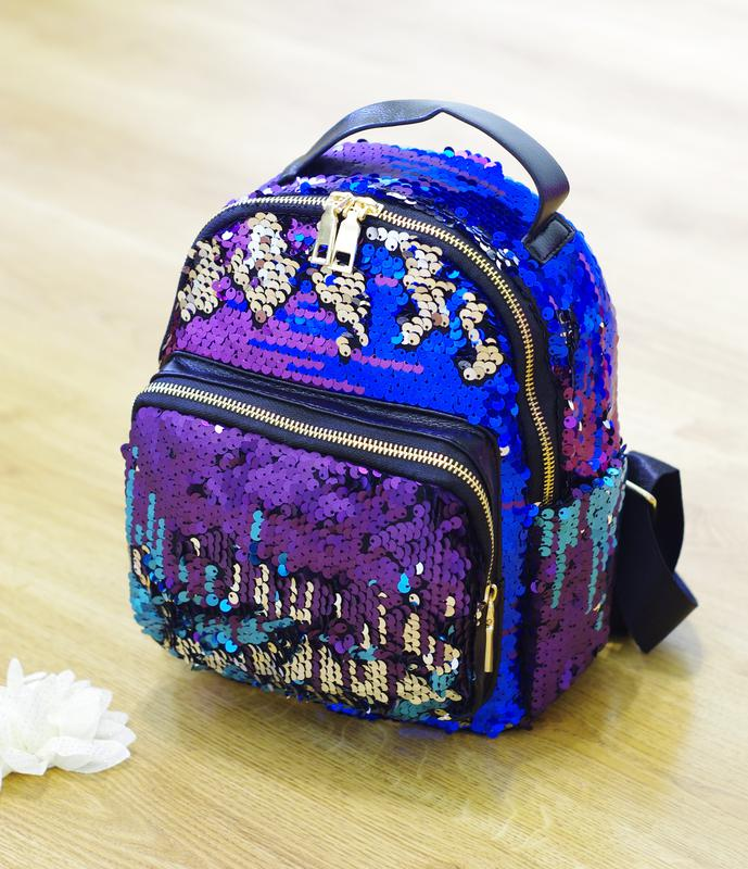 Рюкзак с пайетками в цвете сине-фиолетово-бирюзово-серебристом супер-цена! f26f1369efe