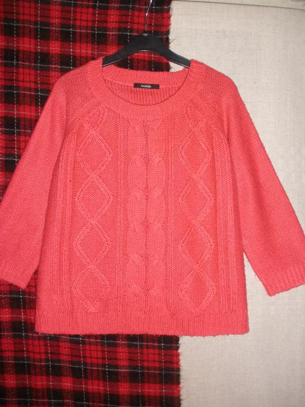Красивый вязаный пуловер джемпер реглан george кораллового цвета George, цена - 139 грн, #49314747, купить по доступной цене | Украина - Шафа