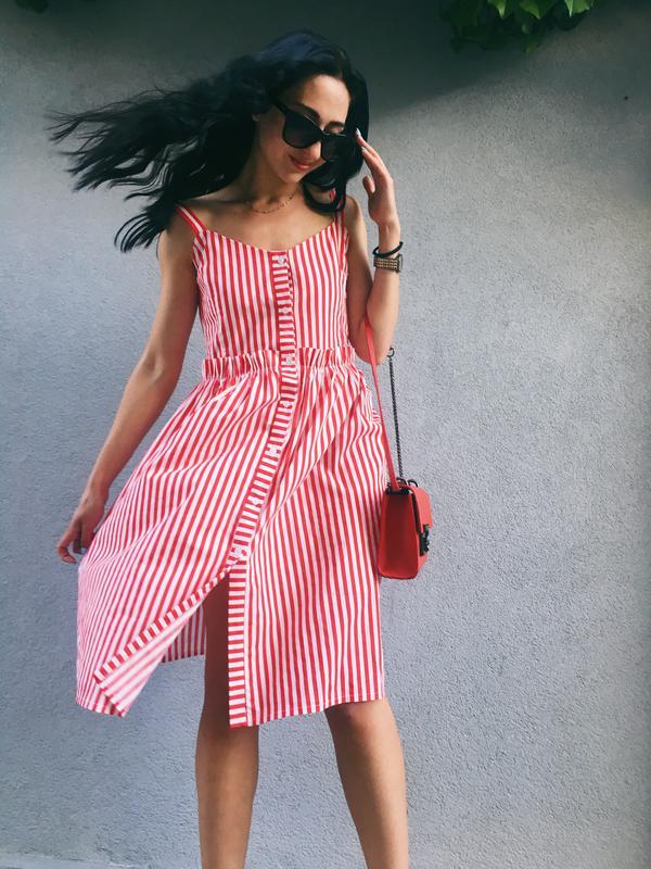 296120c0f235 Очень красивое женское летнее платье миди в полоску красную летний сарафан  за 750 ...