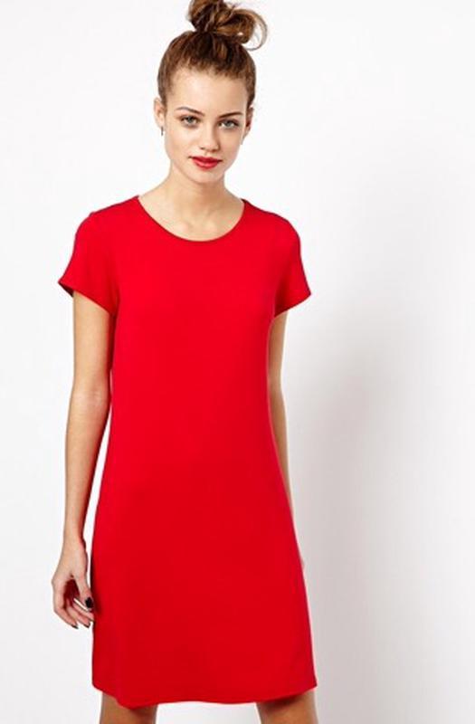 7dcbe9fe25d Красное прямое платье -футболка1 фото ...