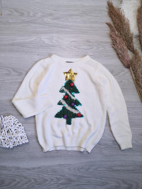 Праздничный молочный свитер с новогодней ёлкой, колокольчиками и пайетками George, цена - 370 грн, #51231235, купить по доступной цене | Украина - Шафа
