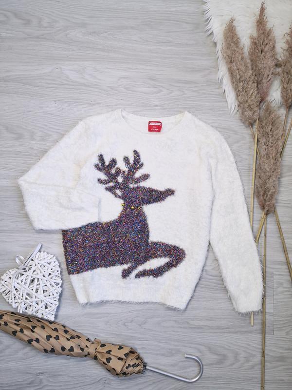 Шикарный праздничный белый свитер травка с блестящим новогодним оленем на новый год George, цена - 440 грн, #51237275, купить по доступной цене | Украина - Шафа