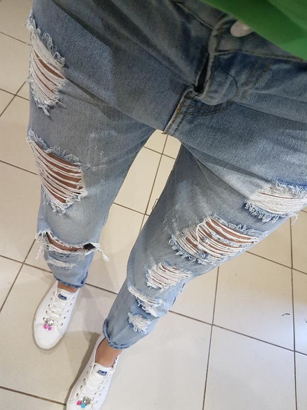 Рвані джинси з високою талією xs Bershka e88105a745376