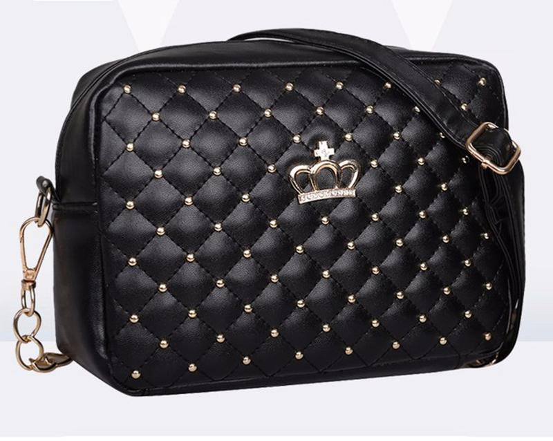 eea1ccc230a5 Женская сумка клатч через плечо корона стеганная чёрная, цена - 250 ...