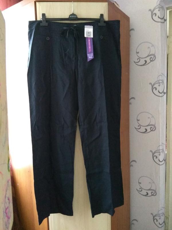 Женские льняные штаны большого размера m&s Marks & Spencer, цена - 297 грн, #52105053, купить по доступной цене | Украина - Шафа