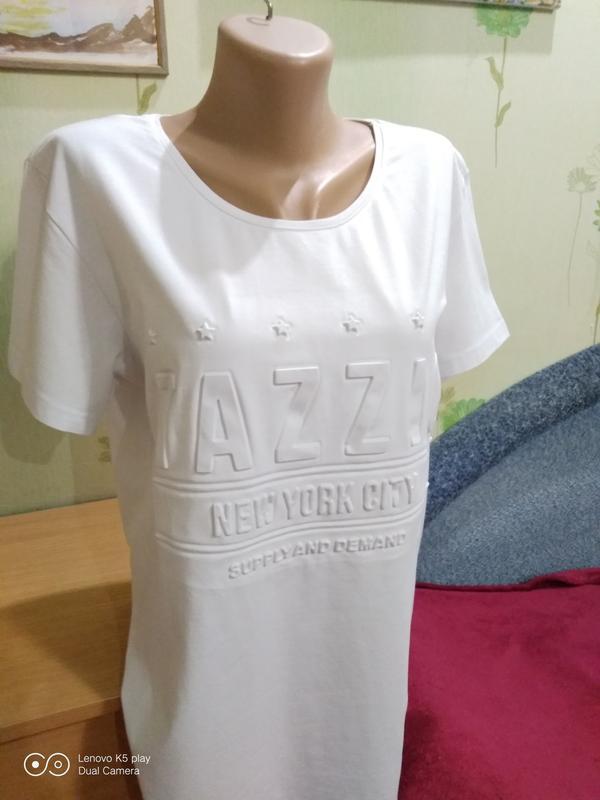 Белоснежная футболка с обьёмным тиснением- унисекс- высокий рост-l-xl--tazzio- Турция, цена - 99 грн, #52366287, купить по доступной цене | Украина - Шафа
