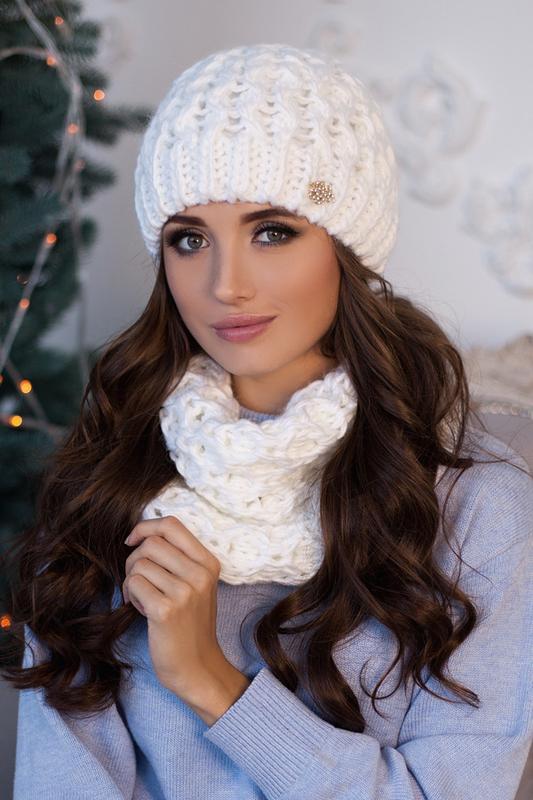 Комплект «эустома» (шапка и шарф-хомут) (белый) Braxton, цена - 300 грн, #52502416, купить по доступной цене | Украина - Шафа