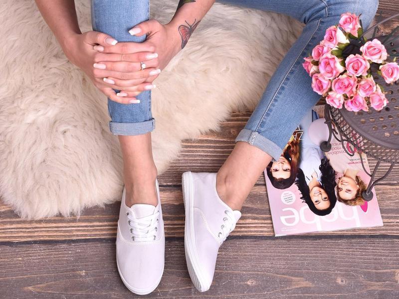 0ee9724e1 Белые женские текстильные кеды балетки со шнуровкой summerlove1 фото ...