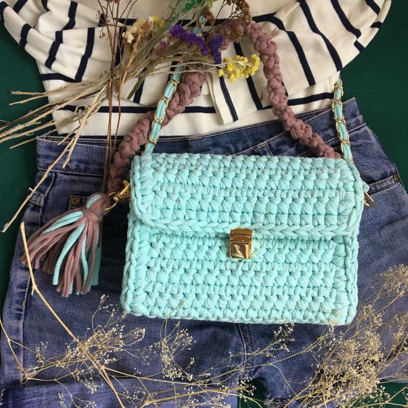 d7ffc46479d4 Сумка из трикотажной пряжи hand made вязаная мятная ментоловая голубая1  фото ...