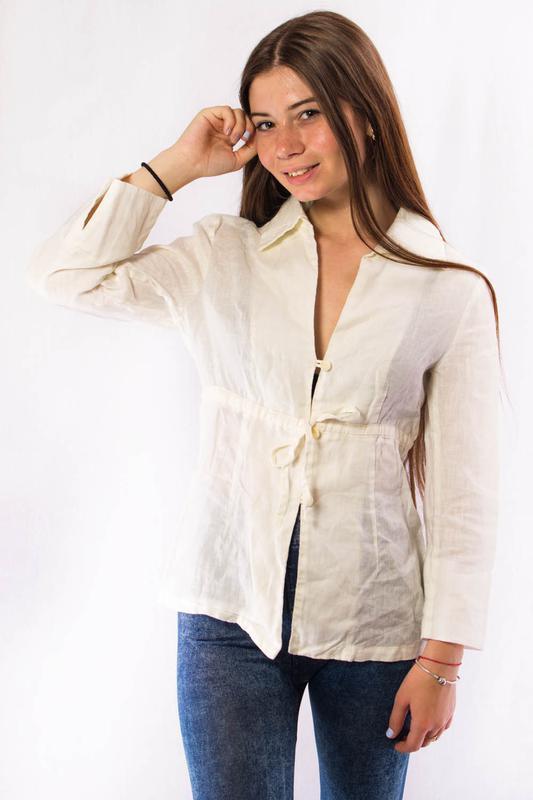 Рубашка женская льняная белая zara woman (m) ZARA 8e4a25abd93bd