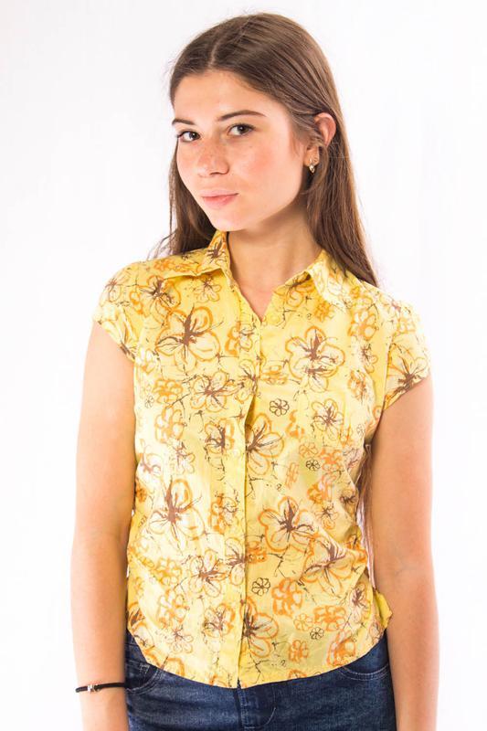 4148428f4c1 Рубашка желтая с цветками женская с коротким рукавом tom tailor (m)1 фото  ...