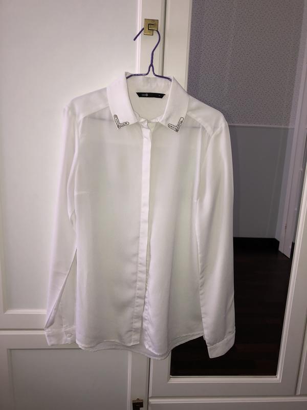 Белая рубашка с красивым воротником Oodji, цена - 120 грн, #55005455, купить по доступной цене | Украина - Шафа