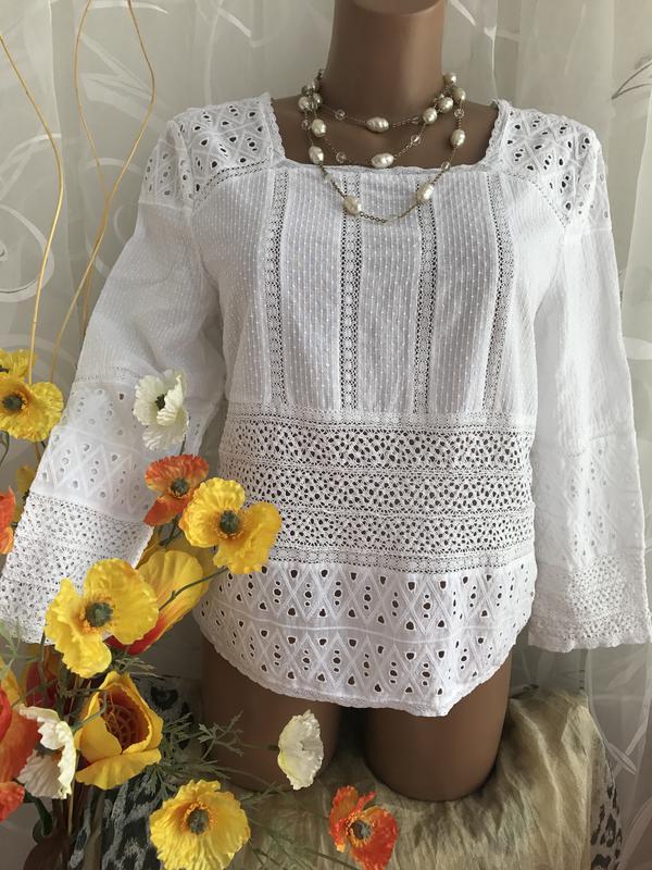 ec9810faf15 Белая блузка из прошвы и кружева zara