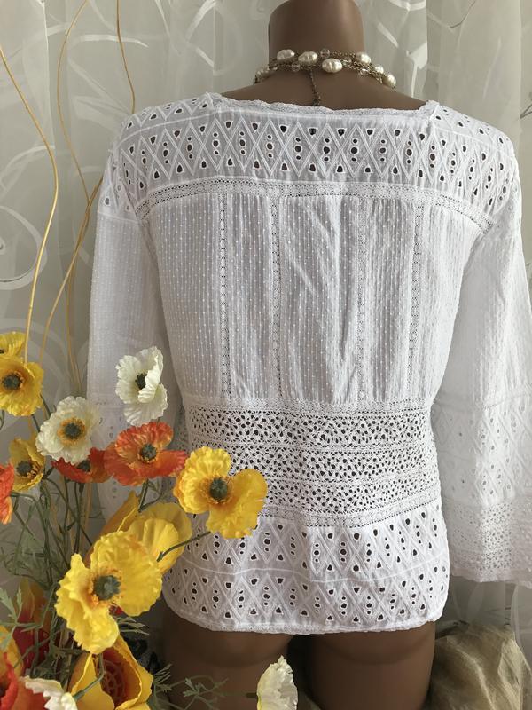 b6756afab8f ... Белая блузка из прошвы и кружева zara