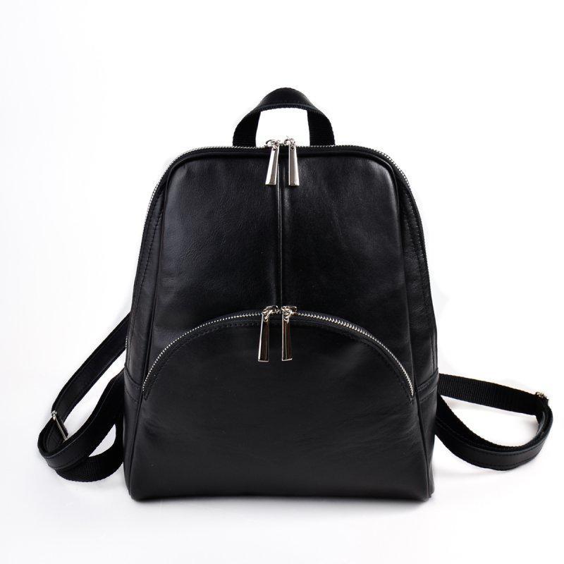 dedf3ad92b4b Черный кожаный женский рюкзак молодежный городской из натуральной кожи1  фото ...