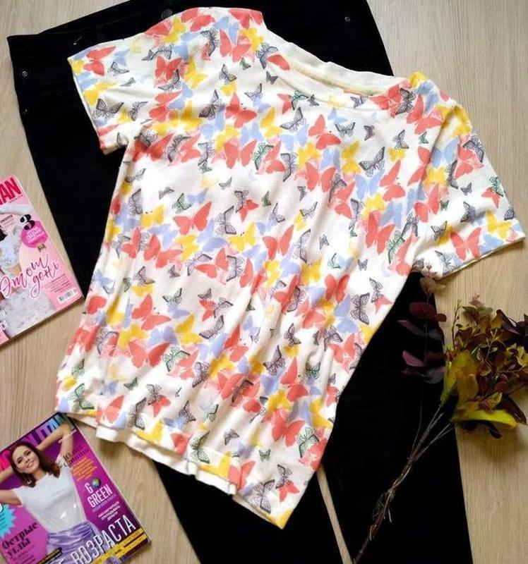 Красивая натуральная футболка в бабочки размер 16-18 (48-50) Next, цена - 100 грн, #57119227, купить по доступной цене | Украина - Шафа