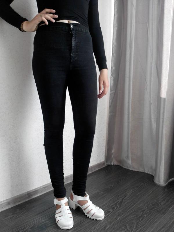 bc28b5a35ad Черные скинни с высокой талией американки джинсы узкачи Denim Co ...
