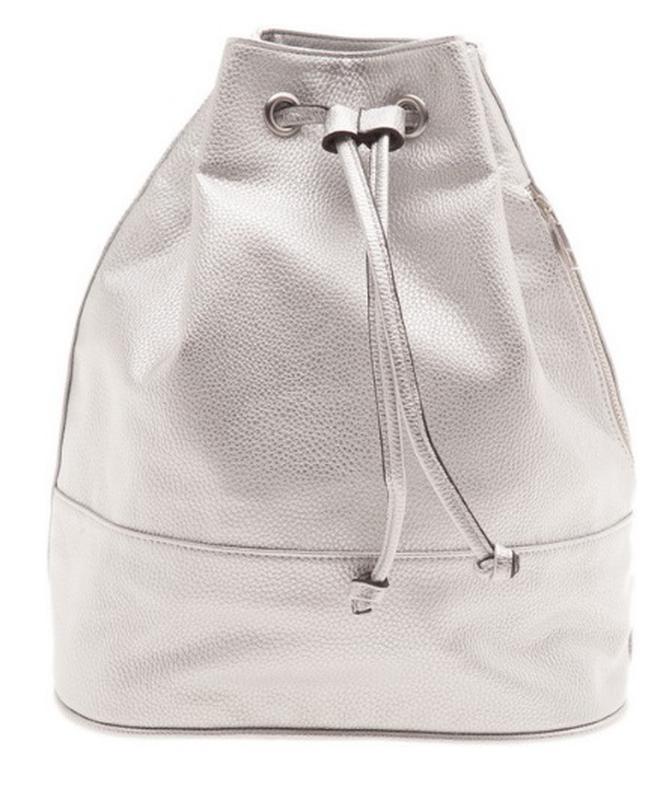 Стильный рюкзак-мешок серебристого цвета stradivarius ррм новый с биркой1  ... e2295799fe3