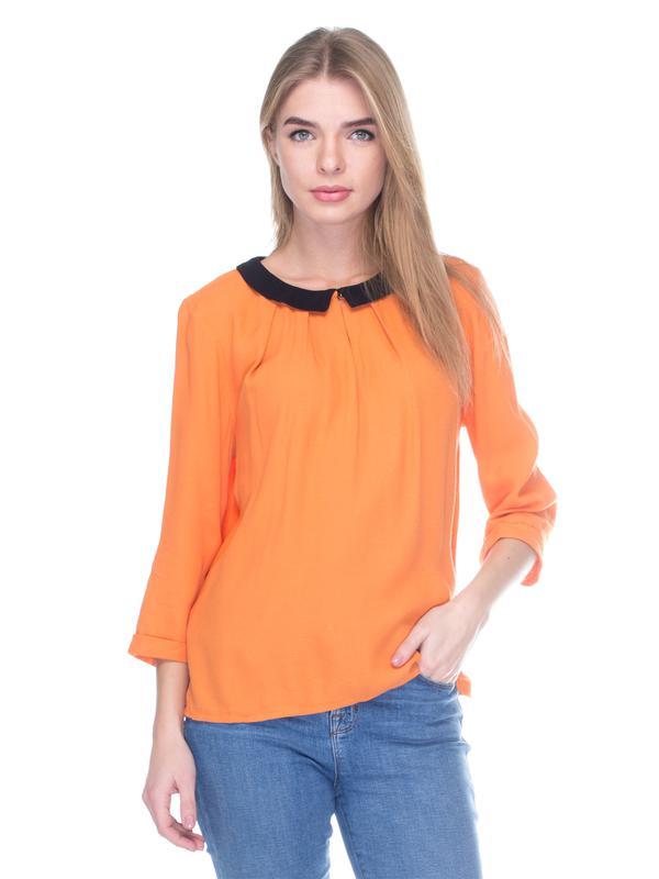 60aa443d61d Оранжевая блуза с черным воротником и рукавом 3 4 promod pp 38 распродажа  остатков!