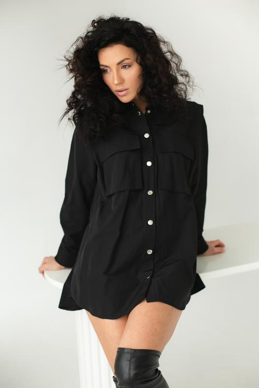 Рубашка оверсайз с накладными карманами и акцентом на плечи Турция, цена - 559 грн, #58448574, купить по доступной цене | Украина - Шафа