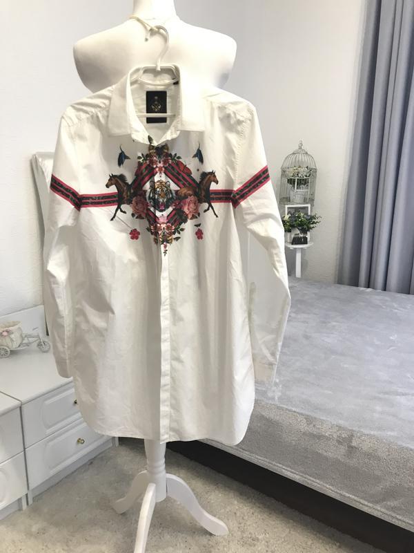 Хлопковая рубашка с оригинальнейшим принтом Италия, цена - 200 грн, #58597809, купить по доступной цене | Украина - Шафа